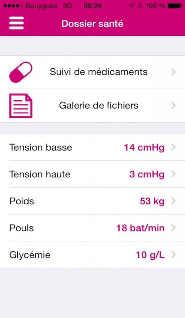 ecran Dossier santé 4 pouces